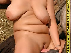 Fat big tits slut fucked at the end of one's tether stallion cock outdoor