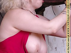 Broad in the beam mature blowjob a huge stallion dick essentially farm